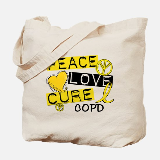 Peace Love Cure COPD Tote Bag