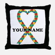 Personalized Autism Ribbon Throw Pillow