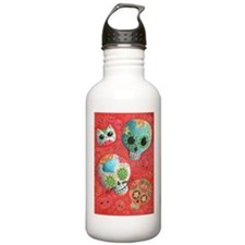 Colorful Mexican Sugar Skulls Water Bottle