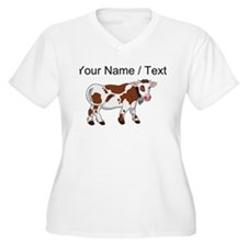 Custom Brown And White Cow Plus Size T-Shirt