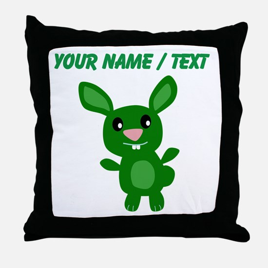 Custom Green Bunny Throw Pillow