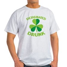 DESIGNATED DRUNK with a green shamrock T-Shirt