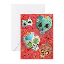 Colorful Mexican Sugar Skulls Greeting Cards
