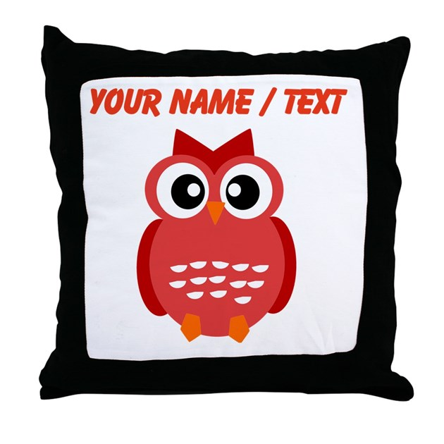 Custom Down Throw Pillows : Custom Red Owl Throw Pillow by PersonalizedAnimalGifts