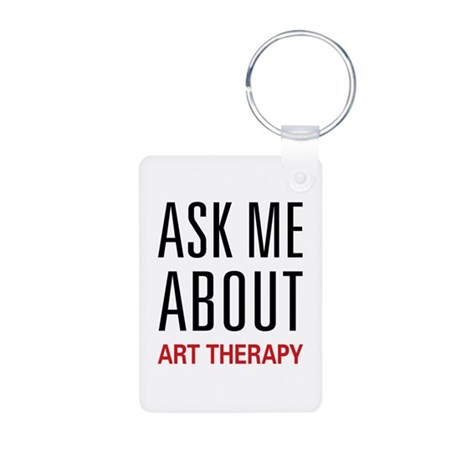 Ask Me About Art Therapy Aluminum Photo Keychain