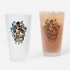 Pin Up Girl Drinking Glass
