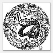 "Chinese Zodiac – Snake Square Car Magnet 3"" x 3"""