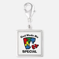 Autism God Made Me Special Silver Square Charm