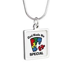 Autism God Made Me Special Silver Square Necklace