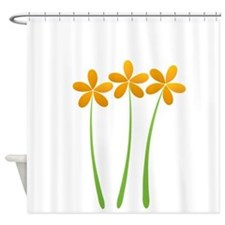 Sunny Orange Tropical Green Flowers Shower Curtain