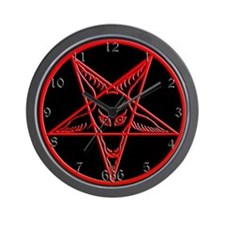 Red & Black Baphomet Wall Clock