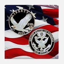 2008 Bald Eagle Dollar Tile Coaster