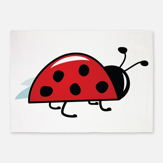 Side View Ladybug 5'x7'Area Rug