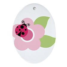 ladybug on flower Ornament (Oval)