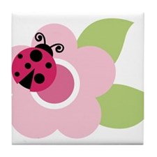 ladybug on flower Tile Coaster