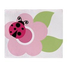 ladybug on flower Throw Blanket