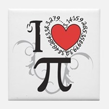 I Heart Pi Tile Coaster