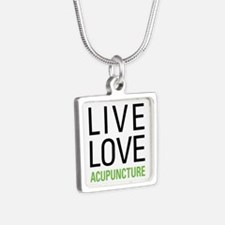 Live Love Acupuncture Silver Square Necklace