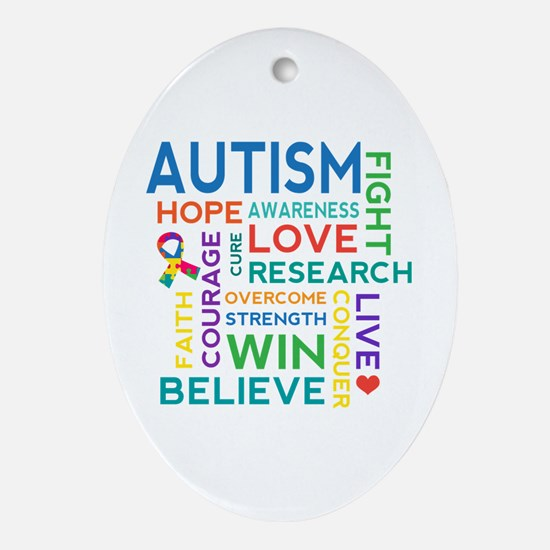 Autism Word Cloud Ornament (Oval)