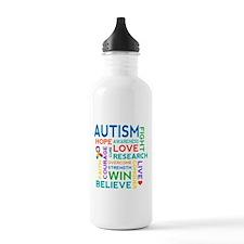 Autism Word Cloud Water Bottle