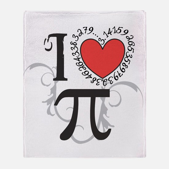 I heart Pi Throw Blanket