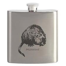 Muskrat Illustration Flask