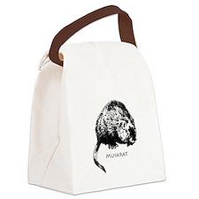Muskrat Illustration Canvas Lunch Bag