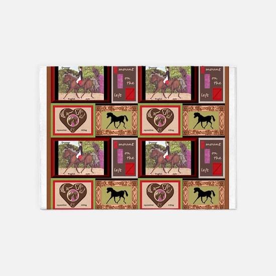 Dressage Horse Quilt Repeat 44x36 5'x7'Area Rug