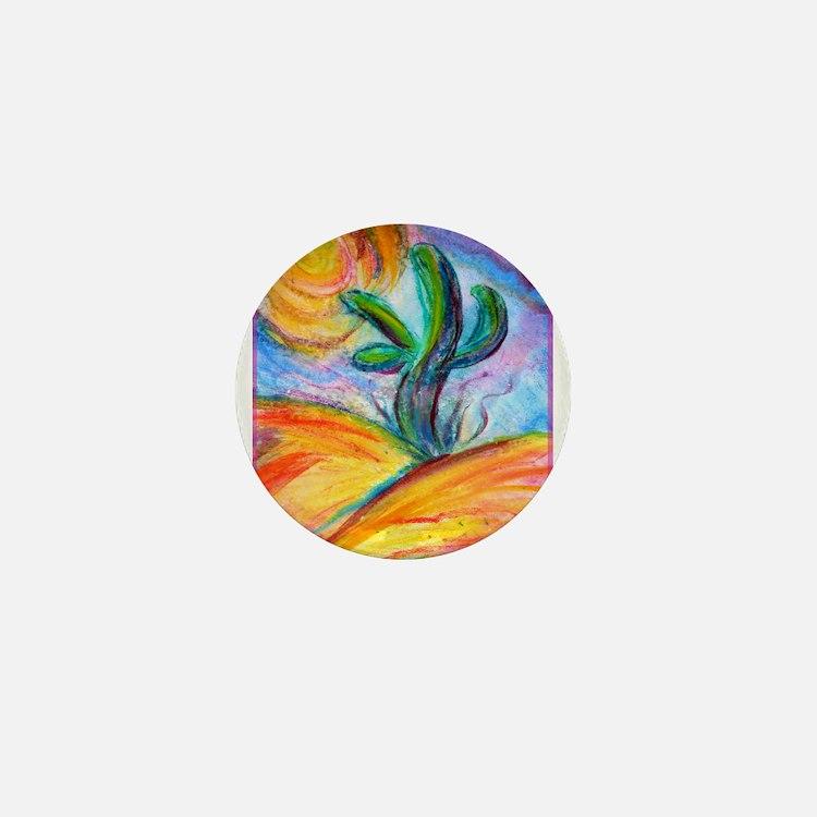Saguaro cactus, colorful art. Mini Button