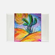 Saguaro cactus, colorful art. Magnets