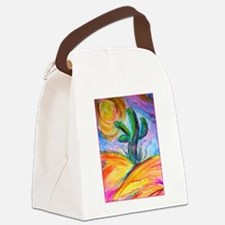 Saguaro cactus, colorful art. Canvas Lunch Bag