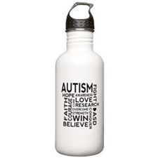 Autism Word Cloud Water Bottle