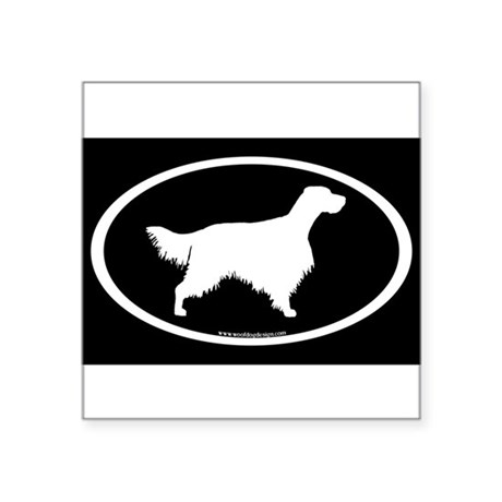English Setter Oval (white on blk) Oval Sticker