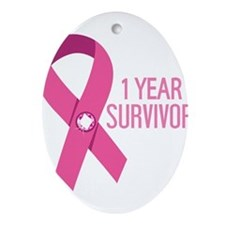 1 Year Breast Cancer Survivor Ornament (Oval)