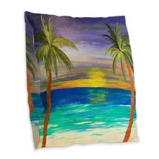 Tropical Sunset Burlap Burlap Throw Pillow