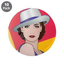 "Pop Art Woman Ingrid 3.5"" Button (10 pack)"