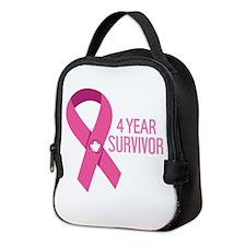 Breast Cancer 4 Year Survivor Neoprene Lunch Bag
