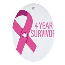 Breast Cancer 4 Year Survivor Ornament (Oval)
