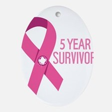 Breast Cancer 5 Year Survivor Ornament (Oval)