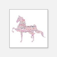 "Saddlebred Art In Pink Square Sticker 3"" X 3"""
