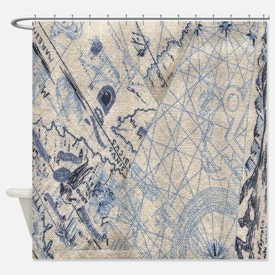 Nautical Map Shower Curtain