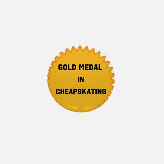 Gold Medal in Cheapskating Mini Button (100 pack)