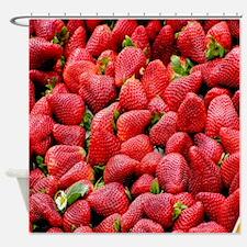 Strawberry Print Shower Curtain