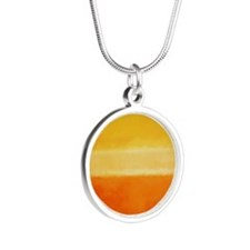 ROTHKO IN YELLOW  ORANGE Silver Round Necklace