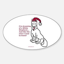 Dreaming of a White Shepherd Oval Decal