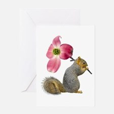 Squirrel Pink Flower Greeting Card