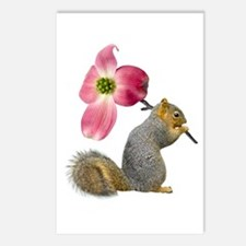 Squirrel Pink Flower Postcards (Package of 8)