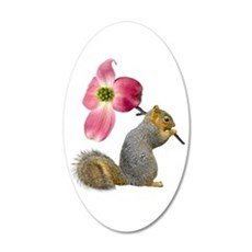 Squirrel Pink Flower Wall Decal