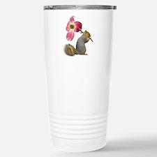 Squirrel Pink Flower Travel Mug
