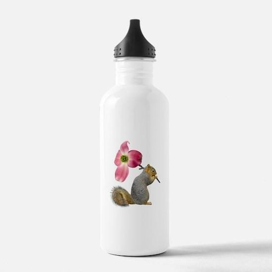 Squirrel Pink Flower Water Bottle